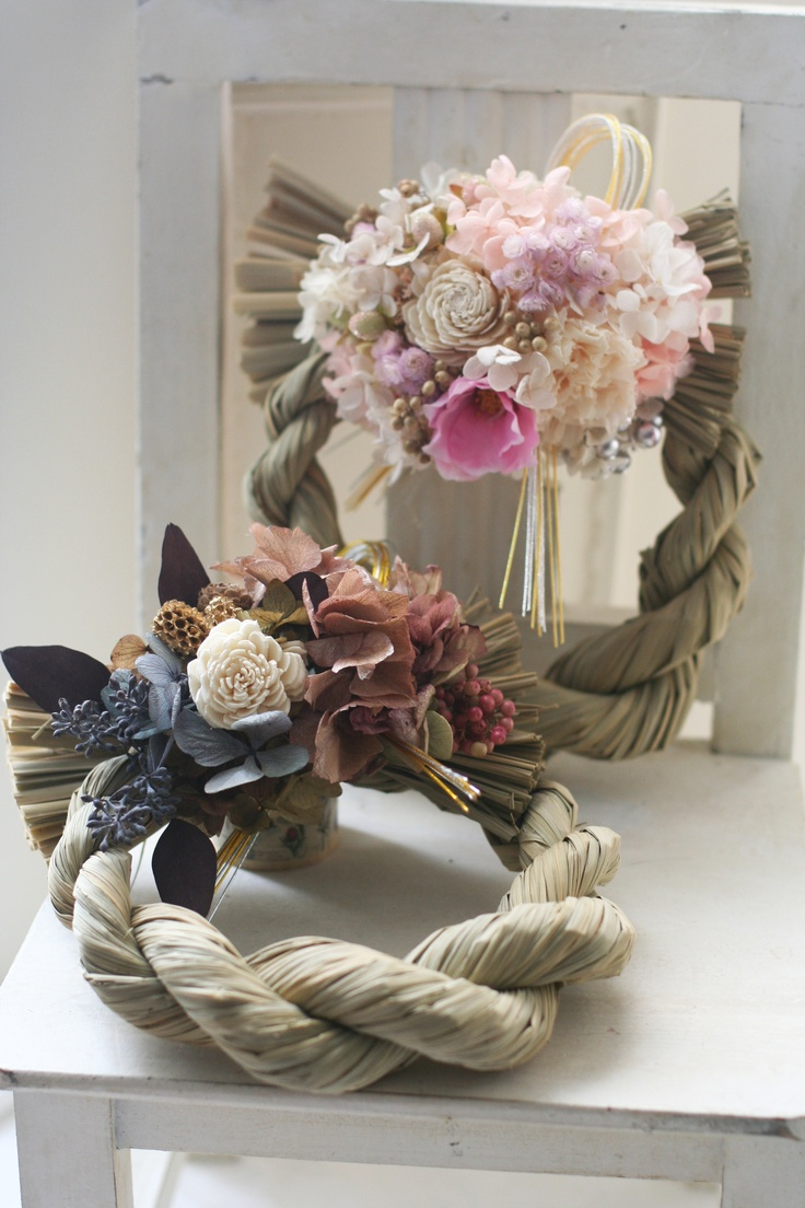 【Japanese New Year wreath 2013】 Japanese people decorate the entrances of their homes with shimekazari, sacred Shinto rope of rice straw, during the New Year's season to ward off evil spirits. These are my original designs.