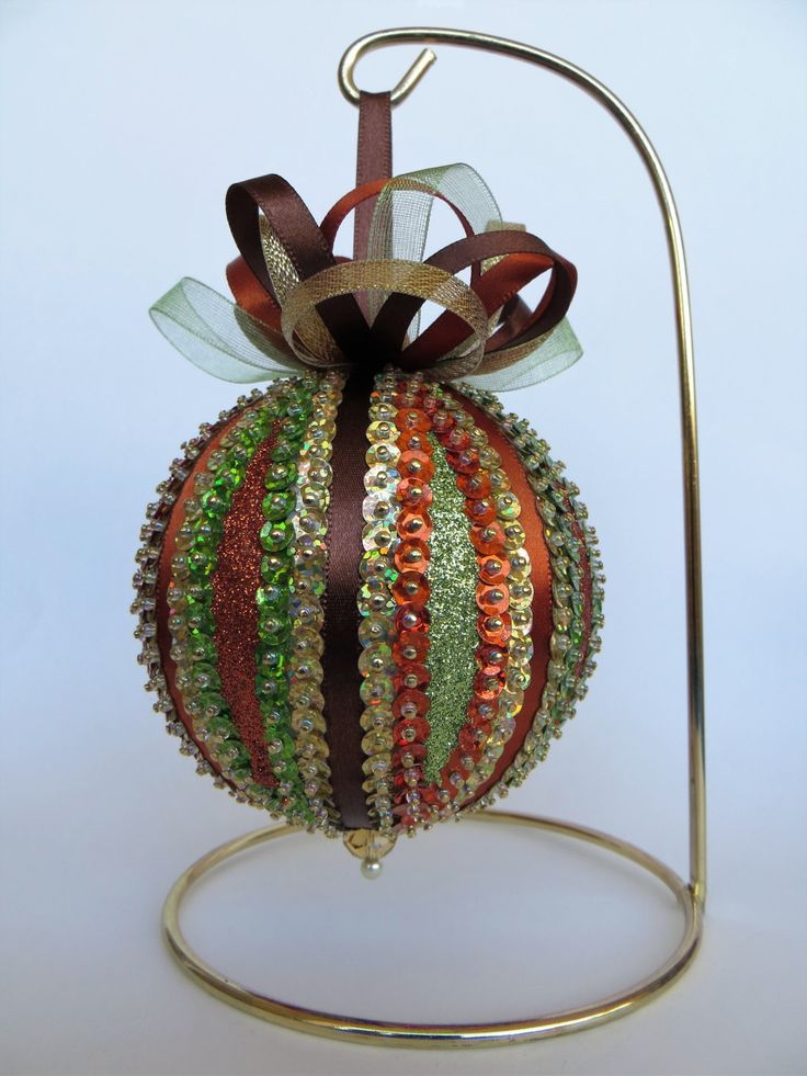 Fall Colors Sequin and Glitter Ornament by OrnamentDesigns on Etsy