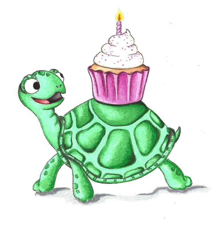 Turtles Love Cupcakes. A gift card designed for a little girl who loves turtles.