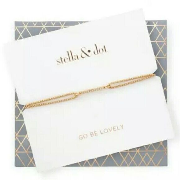 "Stella & Dot Pave Wishing Bracelet Brand new. Gold Pave Wishing Bracelet.   Stella & Dot favorite wishing bracelet dressed up in pav? sparkle! Sliding knot closure for adjustable length. Comes in specialty packaging with self-envelope, makes a great gift!  Adjustable 6""-9"".   Fits SM-LG wrists. Stella & Dot Jewelry Bracelets"