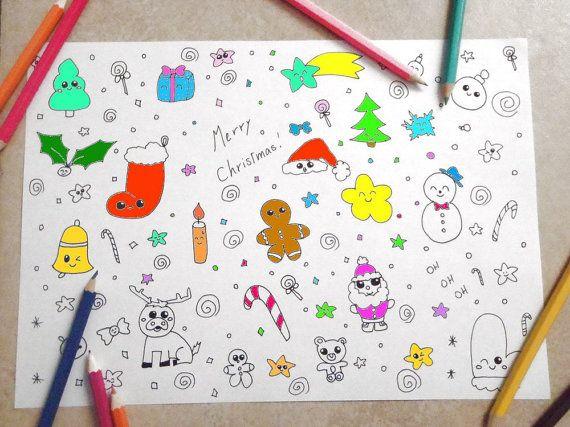 pagina da colorare bambini natale carini kawaii baby dolci adulti stampare stampabile instant download disegno digitale lasoffittadiste