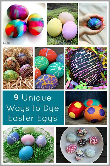 9 Unique Ways to Decorate Easter Eggs: including tie dye, melted crayon, silk dyed, hot glue, and more!