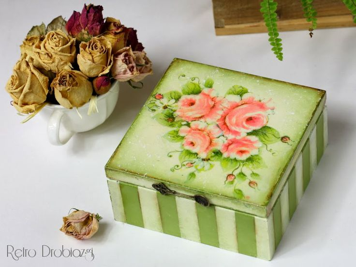vintage rose box, decoupage