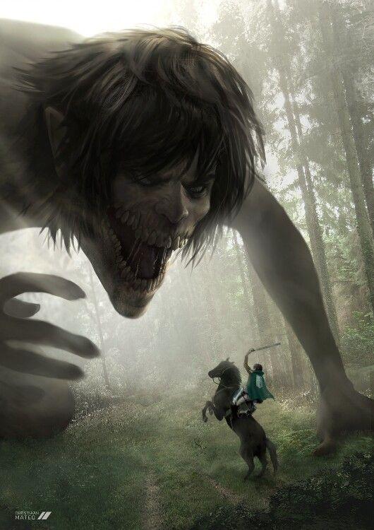 Titan Eren and Levi.