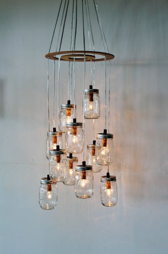 Mason Jar Cluster Chandelier  Upcycled Hanging Mason by BootsNGus, $300.00