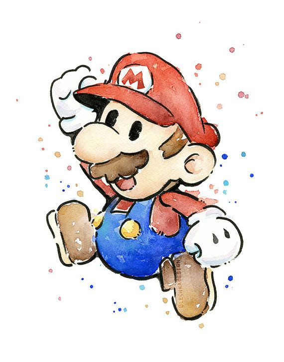 Mario Portrait Watercolor Art Print, Geek Videogame Nintendo Supermario Decor
