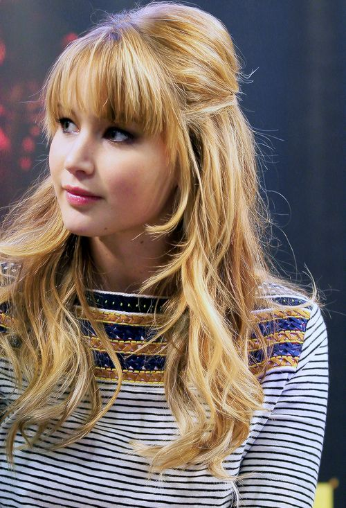 Jennifer Lawrence. I love this hair color and her bangs.
