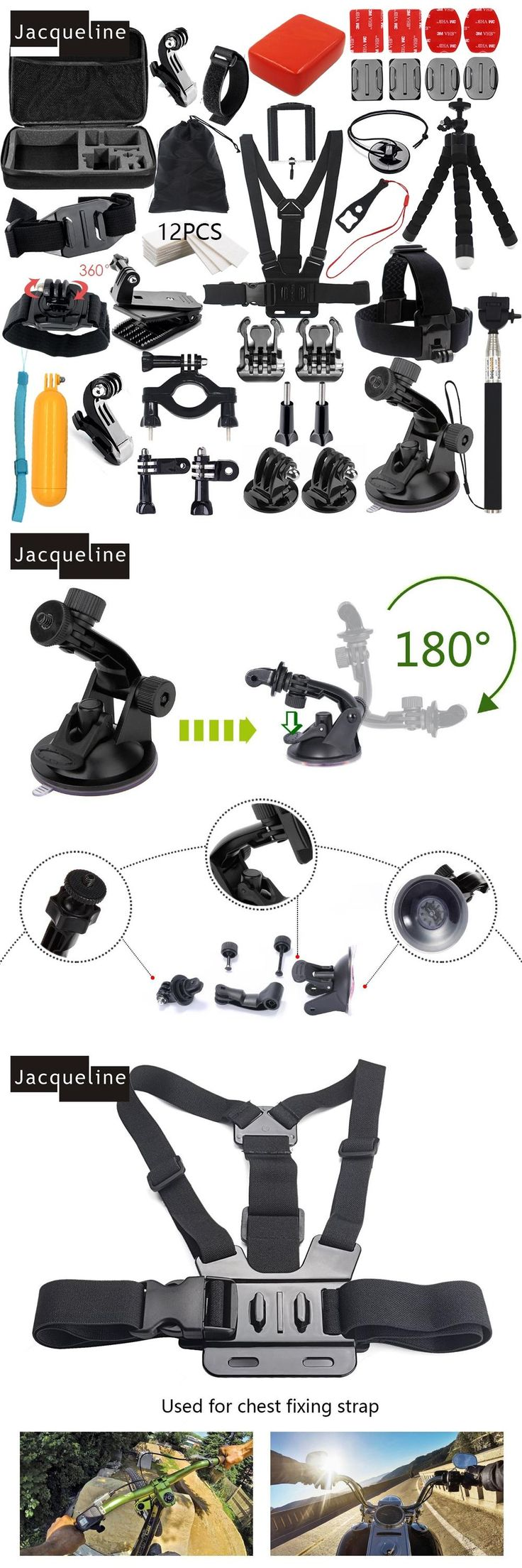 For Go pro Hero Accessories Kit Set Mount Holder for Gopro Hero 5 4 Hero3+ 3/SJCAM SJ5000 SJ6000/SOOCOO/EKEN H9R H9 H8 Tripod