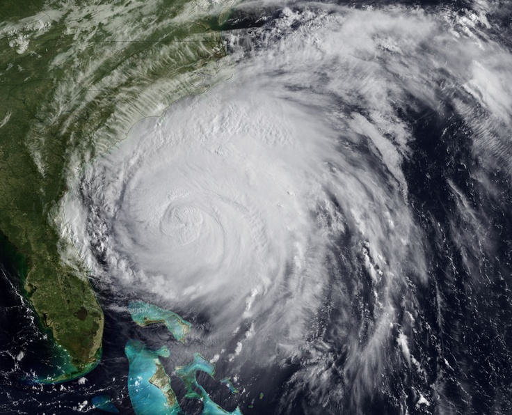 Hurricane Irene: one of the top ten most destructive hurricanes to hit the United States since 1980. In this handout image provided by NOAA, Hurricane Irene churns of the coast of the Carolinas on August 26, 2011. (NOAA via Getty Images) #