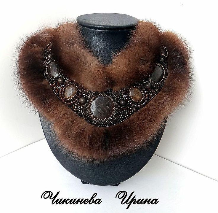 Bead embroidered collar by Irina Chikineva