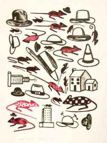 Richard Killeen - Rats in Hats Elements: Line, color, shape Principles: Symmetrical balance, emphasis, contrast, pattern and repetition, proportion