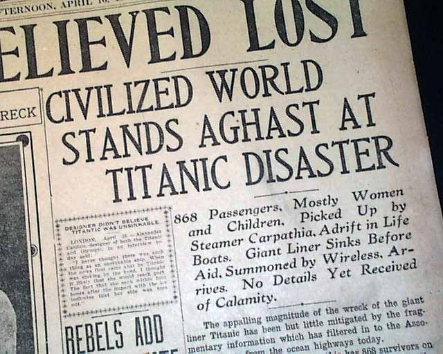 """Historic Newspaper - THE NEWS SCIMITAR, Memphis, Tennessee, April 16, 1912  """"1,350 LIVES BELIEVE LOST"""", """"List Of Survivors Given by Wireless"""" and """"Civilized World Stands Aghast At Titanic Disaster"""""""