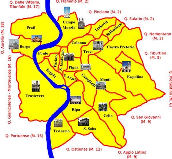Roma Cartina Centro Storico.Mappa Dei Rioni Del Centro Di Roma Rioni Centro Storico Sono Quelli Che Si Trovano Nel Cuore Di Roma Monti Trevi Colonna Campo Ma Il Quartiere Roma Mappa