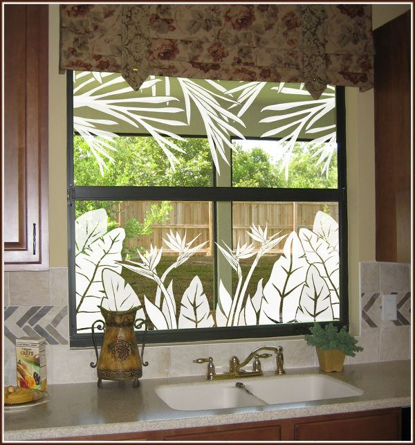 Tropical Oasis Window Film - Decorative Window Covering