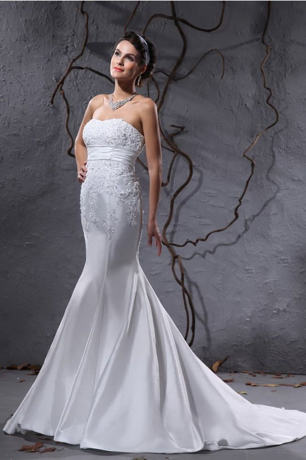 White Romantic Trumpet Mermaid Wedding Gowns - Order Link: http://www.thebridalgowns.com/white-romantic-trumpet-mermaid-wedding-gowns-tbg0936 - SILHOUETTE: Trumpet/Mermaid; SLEEVE: Sleeveless; LENGTH: Court Train; FABRIC: Taffeta; EMBELLISHMENTS: Beading,Applique - Price: 196USD