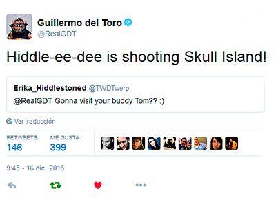 "Guillermo del Toro: ""Hiddle-ee-dee is shooting Skull Island!"" https://twitter.com/RealGDT/status/677046904451170304"