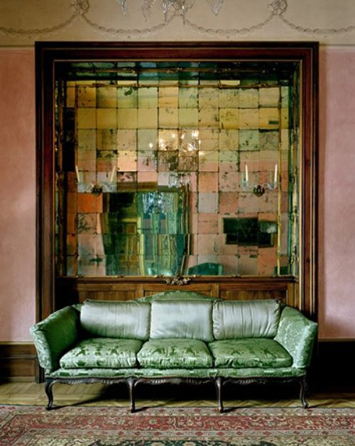 Antique mirrored tiles green velvet sofa couch victorian rustic interior modern bohemian boho interior design vintage and mod mix with nature