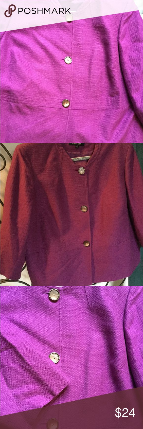 PURPLE BLAZER Purple blazer with 3/4 sleeves, trim at waist and tiny collar. Evan Picone Jackets & Coats Blazers