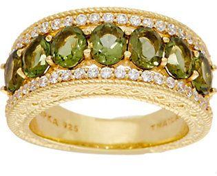 Judith Ripka 14K Clad 1.60 cttw Molvadite Band Ring