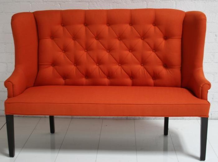 Perfect Orange Tufted Love Seat. Modern, Classic, Orange.