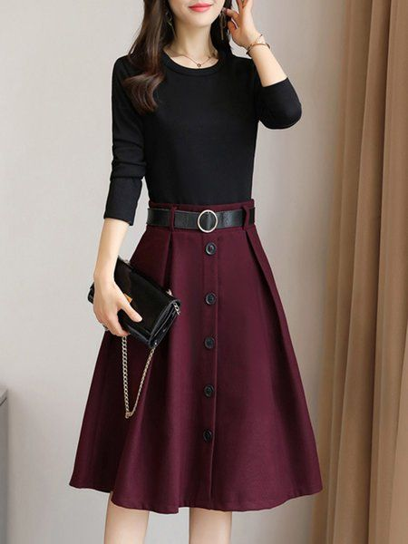Shop Midi Dresses – Elegant A-line Long Sleeve Paneled Crew Neck Midi Dress onli…