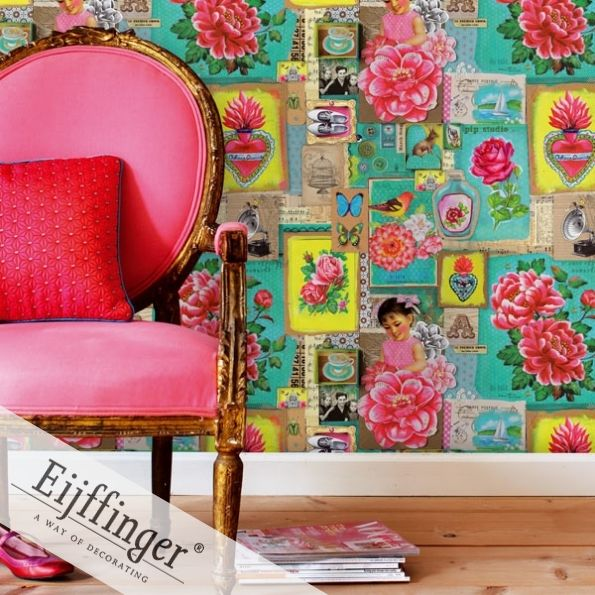 Updated Victorian wallpaper with bold new color.  Pip Wallpaper collection from Kenneth James.Vintage Wallpapers, Pipstudio, Pip Studios, Interiors, Colors, Wall Murals, Girls Room, Pink Chairs, Art Wall
