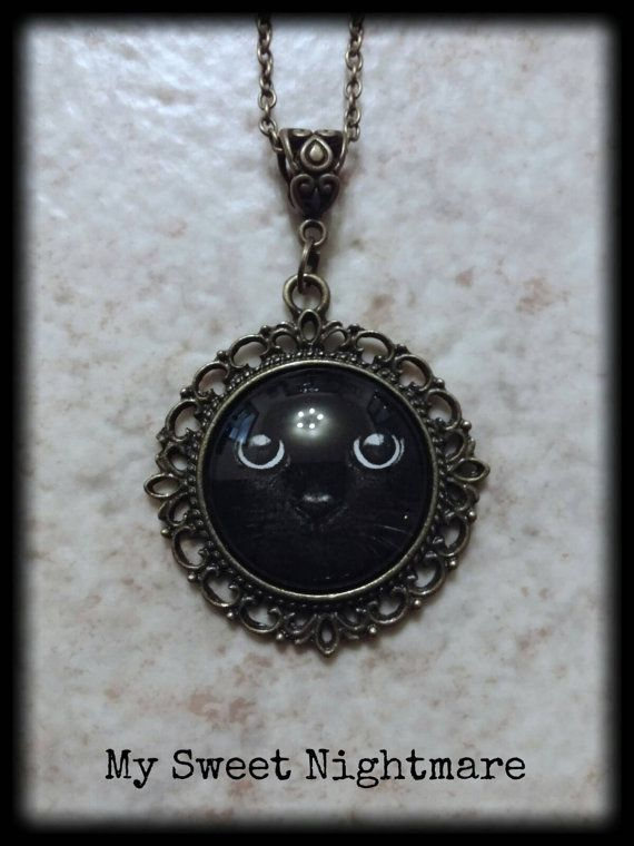 Black cat photo cammeo necklace 25mm collana cammeo fotografico con gatto nero gothic necklace cameo
