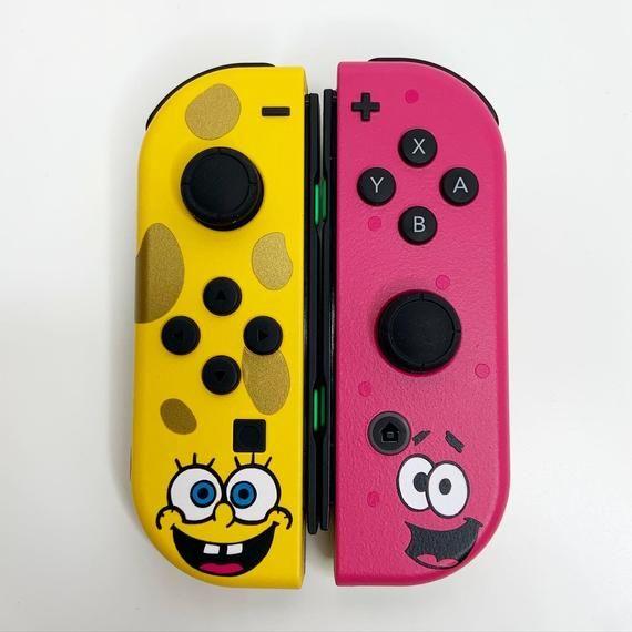Nintendo Switch Nickelodeon Spongebob Squarepants Patrick Star Inspired Custom Joy Cons In 2021 Nickelodeon Spongebob Nintendo Switch Gamer Room Decor