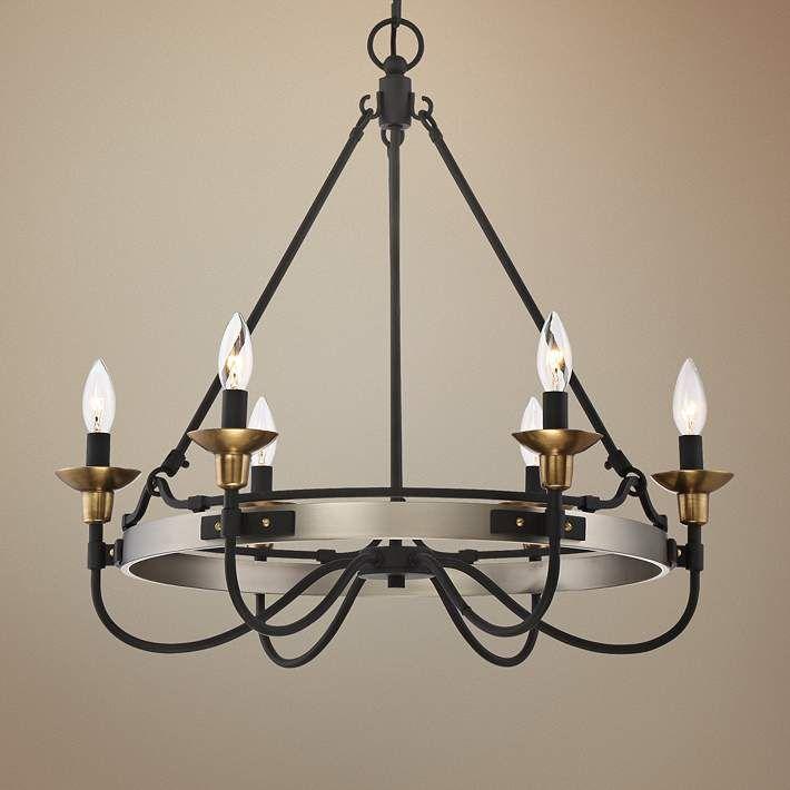 """Quoizel Castle Hill 24 3/4""""W Antique Nickel Chandelier - #1T963   Lamps Plus"""