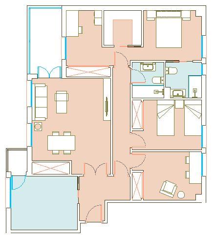 Planta de distribución, estado reformado. Ampliación de dormitorio principal, con la creación de cuarto vestidor y zona de despacho anexa.