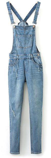 Blue Western Style Retro style Denim Overalls & Shortalls