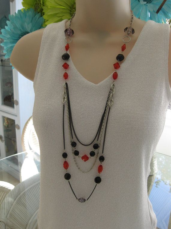 Black and Red Necklace Long Necklace Multi by RalstonOriginals, $20.00