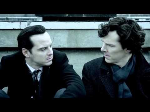 Sherlock S3 - Moriarty and Sherlock kiss - when I saw this I was nearly crying...and maybe a little turned on.