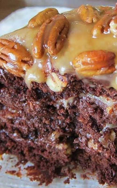 Recipe for Chocolate Turtle Cake - This decadent chocolate cake showcases a creamy caramel layer on top of a rich chocolate cake. A small slice goes a long way to satisfy that sweet tooth.