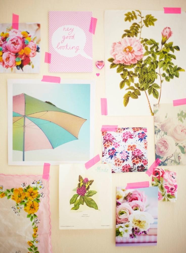 Pink washi tape collage