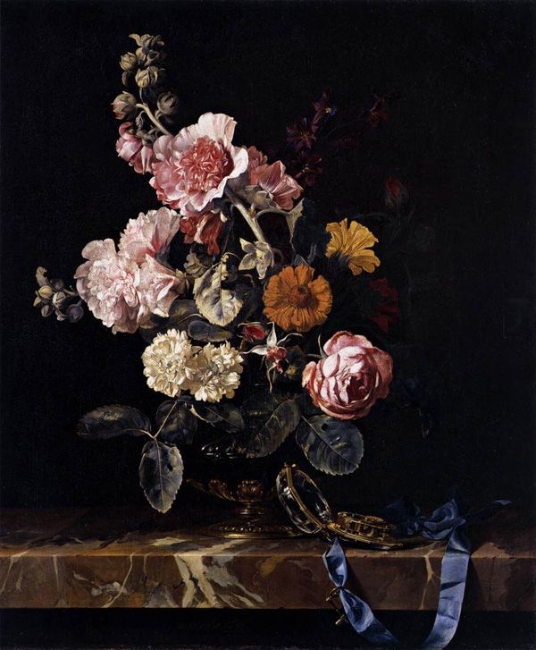 Willem van Aelst  VASE OF FLOWERS WITH WATCH  1656  Oil on canvas, 55.9 x 46.4 cm.  North Carolina Museum of Art, Raleigh