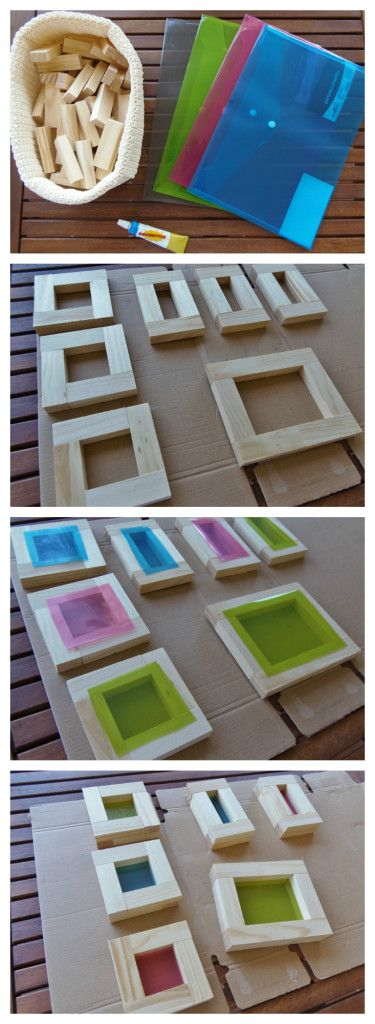 Tutorial bloques con ventana Window blocks using colored plastic (sometimes one can find file folders or envelopes made with this plastic - or color the plastic from food packaging)