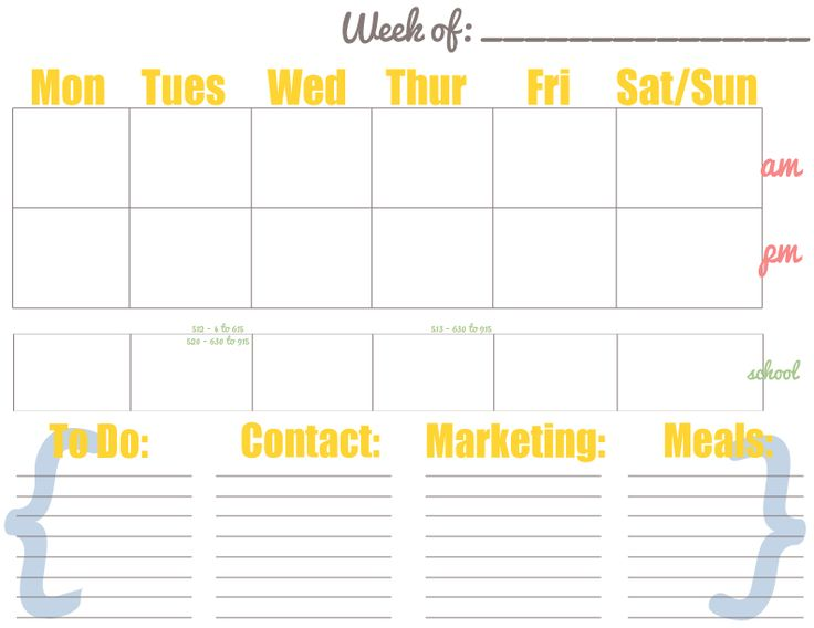 9 best Weekly Calendar for Girls images on Pinterest Calendar - assessment calendar template
