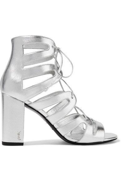 Saint Laurent - Babies Lace-up Metallic Leather Sandals - Silver - IT