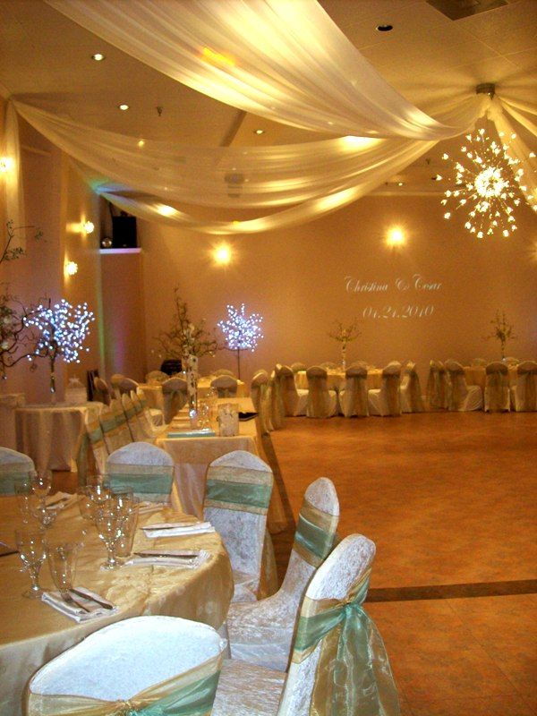Ceiling Draping And Lites And Sage Color Dawn And Garett