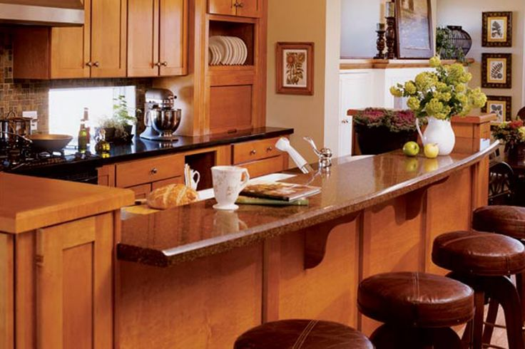 A Collection Of Excellent Kitchen Island Design Ideas : Awesome Curved Large Kitchen Island Design with Marble Countertop and Round Brown Le...