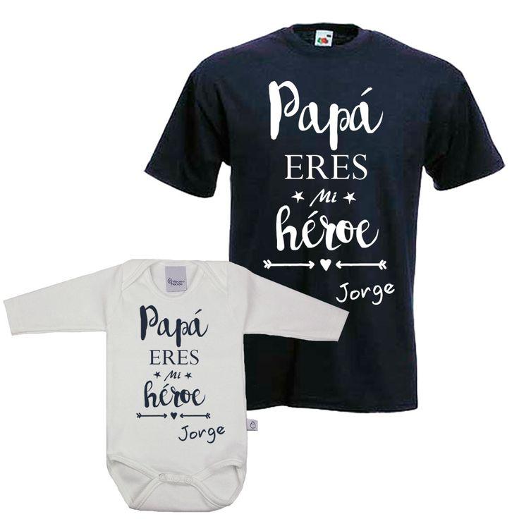 Camisetas para padres. Regalos originales para el día del padre. Camisetas personalizadas. Papa eres mi heroe.