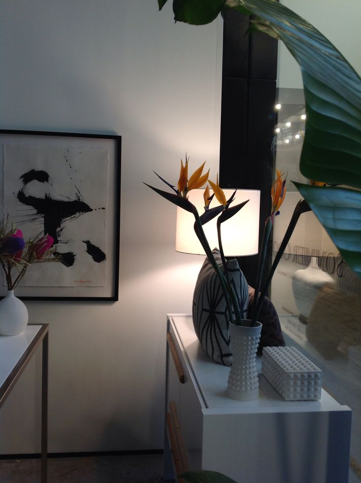 Love these birds of paradise sitting pretty in a Jonathan Adler vase. In my studio. ScX