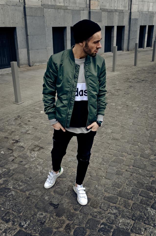 Streetstyle joggers beard baseball jacket beanie