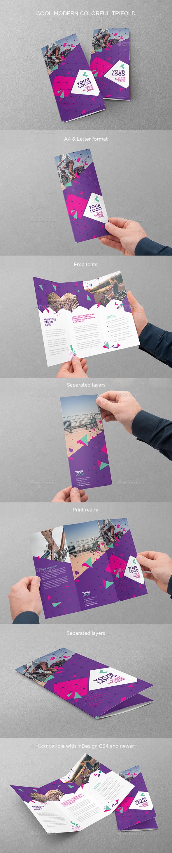 Cool Modern Colorful Trifold Brochure Template InDesign INDD #design Download: http://graphicriver.net/item/cool-modern-colorful-trifold/14042175?ref=ksioks