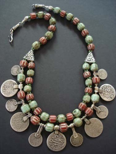 ☮ American Hippie Bohemian Style ~ Boho Jewelry .. Nepalese green red striped glass beads, old African green flower spacer beads and a mix of amazing Moroccan silver coin pendants. 9.25 Bali silver beads clasp.