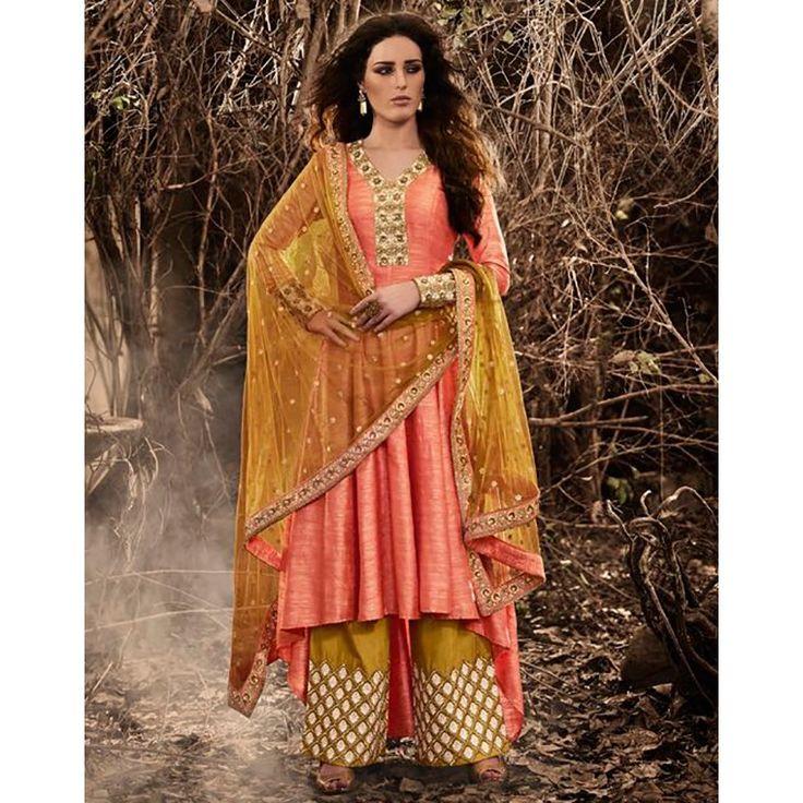 Multicolored Bhagalpuri Silk Embroidered salwar Suit