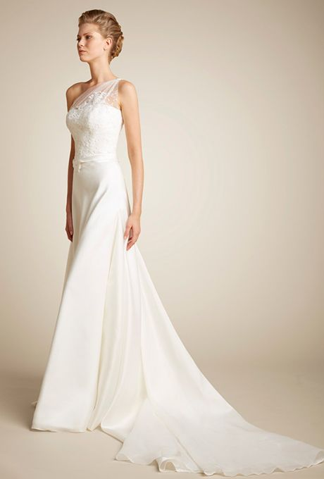 Brides: Giuseppe Papini. One-shoulder silk organza wedding dress. Bodice embellished with lace and beading. www.giuseppepapini.com