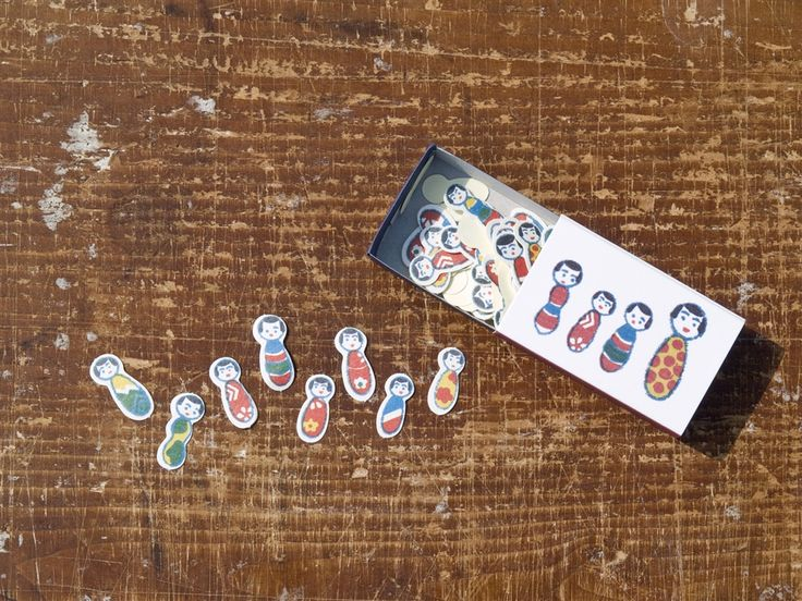 倉敷意匠 マッチ箱のシール 「こけしちゃん」68片入
