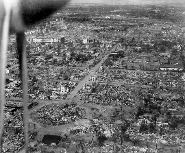 Distruction in Manila, Philippines, Feb. 1945, Malate, Remedios Circle lower left, Philippine Women's University upper left by John T Pilot, via Flickr